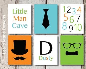 BABY BOY NURSERY - Little Man Wall Art - Mustache Wall Art