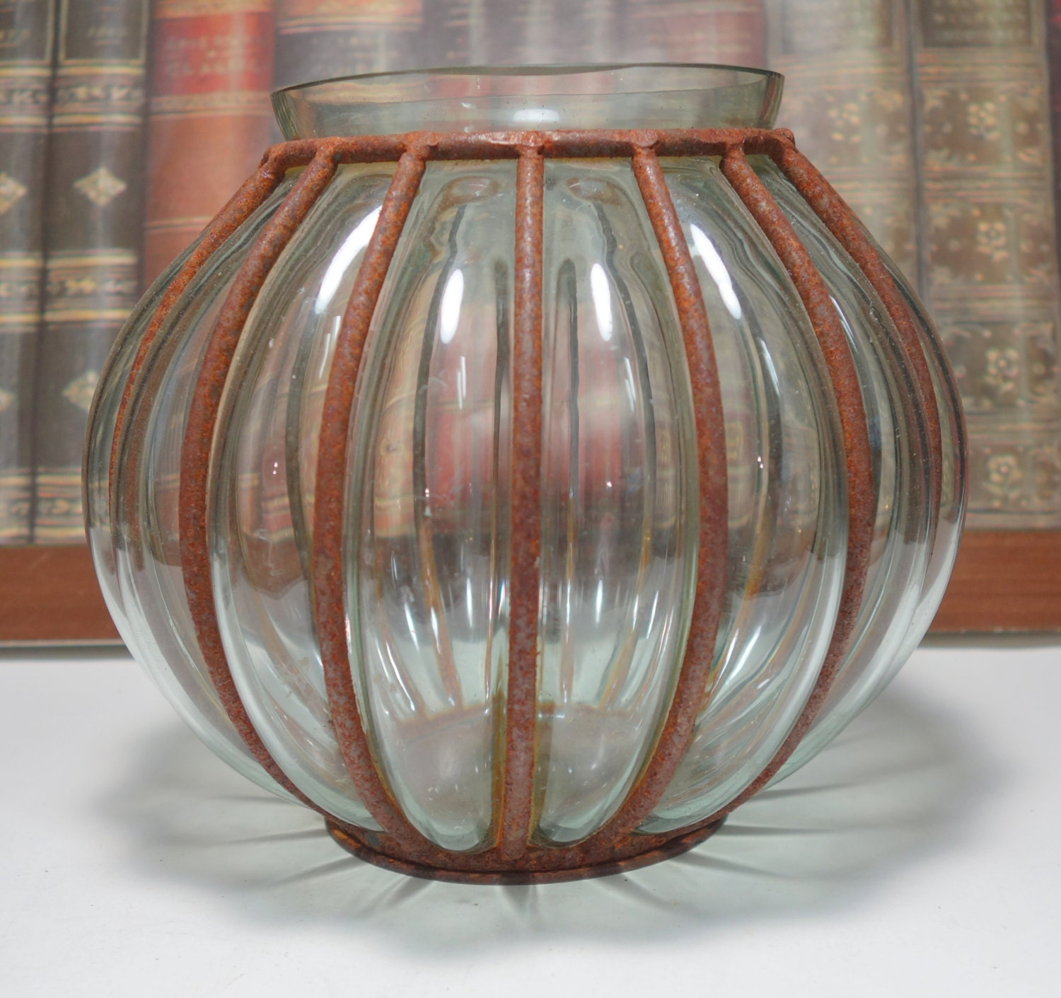 Antique Rustic Murano Style Caged Blown Glass Vase Wrought