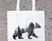 Tote Bag - Bear and Forest Double Exposure Photograph - Cotton Canvas Tote Bag