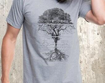 Men's Tree Diagram T-Shirt - Tree Schematics Illustration - Men's Screen Printed T-Shirt