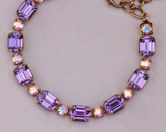 NEW Tanzanite Purple AB Rhinestone Tennis Bracelet,Crystal Aurora Borealis,Unique Vintage Swarovski Crystal Bracelet,Gift,Bridesmaids,Purple