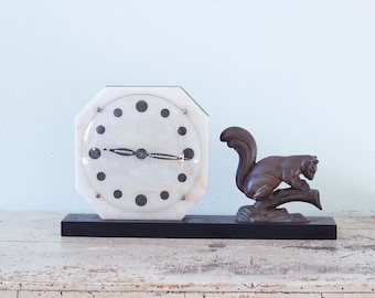 Collectible Art Deco Mantle Clock on Onyx Base - Squirrel - Glass Dome