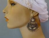 "Mexican silver filagree LARGE arracadas 3 tiers pearls romantic flower top wedding GALA boho Frida Kahlo drop 3"""
