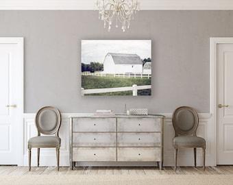 Canvas Wall Art: White Barn Photography, Country Decor, Farmhouse Decor, Barn Landscape, Farm Landscape, White, Green, Rustic Home Decor.