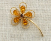 Gold Yellow Flower Brooch Vintage Floral Pin Daisy Simple Stem Crystal Petals | Rhinestones Hippie 1960s 1970s Flower Power Jewelry 16A