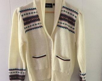 Fair Isle Print Vintage Cardigan Womens Sweater