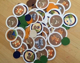 Camping Confetti, Woodland Animals Confetti -Mini Circles -Birthday, Baby Shower, Table Confetti, Camp Party, Fox, Bear, Camp Birthday