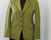 Vintage Harris Tweed Moss Green Wool Jacket, Size Large, Wool Blazer