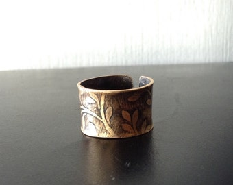 Etched Bronze Cuff Ring