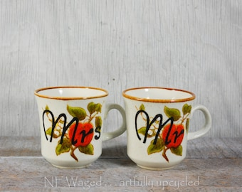 Mr and Mrs coffee mugs, mr and mrs coffee mug set, cute 70's cup, couple gift