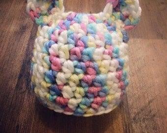 Bear Baby hat, 0-3 mo sized, pastel wool mix hat, Newborn photo prop, baby shower, Christmas gift