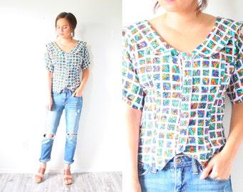 Vintage BOHO // abstract pattern blouse // checkered square print // navajo aztec shirt blouse rainbow // collard summer blouse // print