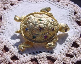 Golden Rainbow Rhinestone Turtle Vintage Figural Brooch