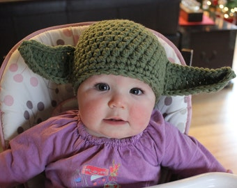Yoda Hat with Posable Ears-Crocheted in many sizes-Great Halloween Costume for Star Wars fans