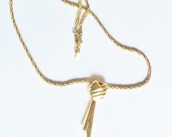 Vintage Necklace Gold Monet Tone Pendant Everyday Wedding Gift Jewelry Jewellery