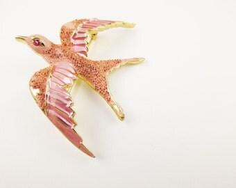 Pink Enameled  'Florenza' Bird - With Pink Rhinestone Eye - Flying Bird - Lark - Pink Pearl Surface