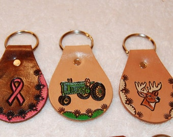 Key chains, rings, leather, Made in USA, Personalized
