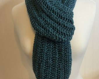 Beautiful Ladies Wool Scarf Hand Knit in Lace Stitch Blue/Green Fall Autumn