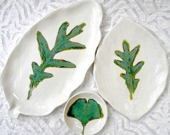 Ceramic Oak Leaf Plates, Snack Set, Sushi Set, White Dinnerware, Ginkgo Leaf bowl, Sushi Platter, Leaf Platter, minimalist ceramic, organic