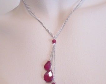 Vintage Pendant Necklace Sterling Silver Signed 925 SOSI B 7.6 Grams Ruby Red Glass Retro 1980's Statement Art Deco Runway