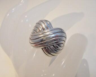 Vintage Sterling Silver Ring Signed 925 *8.3 Grams* Size 8.75 Modernist Minimalist Statement Boho