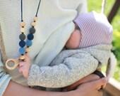 Charcoal & Denim Nursing Necklace / Teething Necklace for Moms to wear - KangarooCare Teething Baby Mom Necklace - Juniper Wood KangarooCare