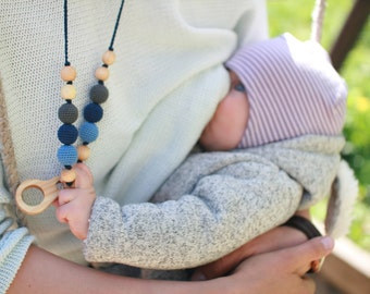 Charcoal & Denim Nursing Necklace / Teething Necklace for Moms to wear - KangarooCare Teething Baby Mom Necklace - Juniper Wood KangarooCare