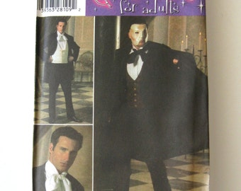 Mens Phantom of the Opera Costume Pattern Simplicity 4482 Adult Teens Historical Victorian Sewing Pattern Size XS-S-M-L-XL Chest 30-48 UNCUT