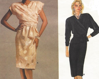 80s Adele Simpson Womens Mock Wrap Dress Vogue Sewing Pattern 1562 Size 12 Bust 34 Vintage Vogue American Designer Patterns