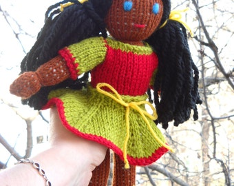 "KNITTED DOLL-""BRITNEY""-African American dolls human figure ready to go-fully dressed doll-waldorf girls doll- Montessori- Steiner doll-gift"