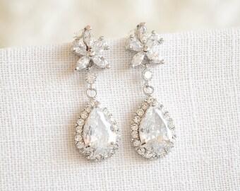 Bridal Wedding Earrings, Crystal Wedding Earrings, Art Deco Flower Dangle Earrings, Teardrop Stud Earrings, Silver Wedding Jewelry, BRISA