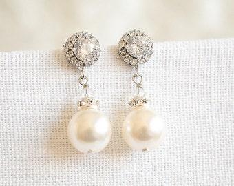 Swarovski Pearl Wedding Earrings, Crystal Halo Bridal Earrings, Modern Vintage Style Wedding Dangle Stud Earrings, Bridal Jewelry, LUCIE