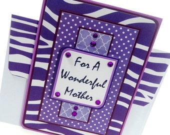 Purple- Mother's Day Card with Matching Embellished Envelope
