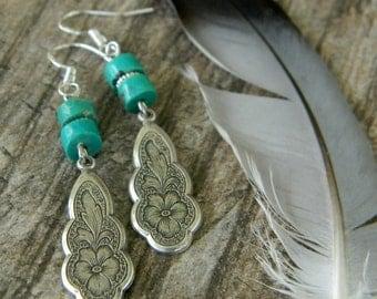 Southwest earrings bohemian earrings turquoise southwestern style jewelry cowgirl unique dangle earrings bohemian jewelry western boho
