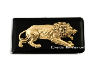 Antique Gold Lion Money Clip Inlaid in Hand Painted Enamel Neo Victorian Leo Vintage Style Custom Colors and Personalized Options