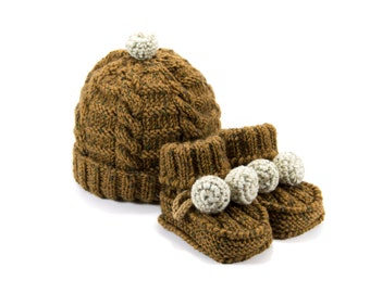 Knitted Baby Hat and Booties - Dark Mustard, 6 - 12 month