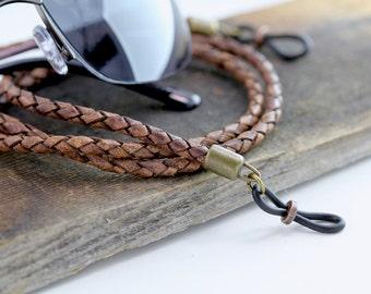 Rustic Leather Eyeglass Chain, Lanyard, Leather Lanyard, Gifts for Him, Mens Eyeglass Chain, Mens Eyeglass Holder, Eyeglass Chains, Eyewear