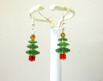 Christmas Tree Earrings Crystal Holiday Jewelry Green Red