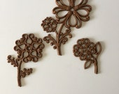 Vintage Homco Small Flowers, Set of Three (3), 1970's Wall Grouping Hanging Decor, Wicker or Wood Look