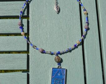 boho statement pendant, silk pendant, textile art jewellery, upcycled silk pendant, ethnic jewelry, ooak, beaded pendant, blue