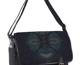 Psychedelic Messenger Laptop Bag, Screen Printed, Canvas Messenger Bag, Laptop Bag 13 inch 15 inch, Computer Bag, Shoulder Bag