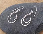 Small Silver Teardrop Earrings, Argentium Sterling, Double Loop Hammered