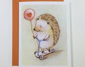 Hedgehog Balloon Love card by Megumi Lemons