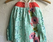 Teal Floral & Coral Poppy Bubble - Handmade w/Embroidery