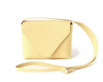 Minimalistic Crossbody Bag Light Yellow Leather, small satchel bag, yellow handbag