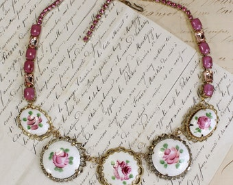 Rain Down Roses- Pink Rose Guilloche Enamel- Antique Assemblage Necklace- Pink Rhinestone, gold, white- Vintage- Romantic- One of a Kind