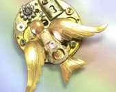 Upcycled Recycled Unique Handmade OOAK Bird Steampunk Brooch, steampunk bird brooch, brooch with birds, steampunk jewelry, bird jewelry