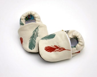 Feather Organic Canvas Handmade Baby Shoes Boy or Girl- Size 0 3 6 12 18 months Organic  Booties with Organic Fleece Linings- Baby Clothes