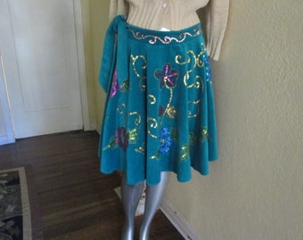 Vintage Betsey Johnson Circle Skirt Size 10 12 / Teal Painted Sequin Skirt Adorable