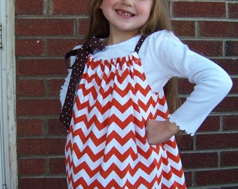 Girl's Thanksgiving Dress, Thanksgiving Pillowcase Dress, Turkey Dress, Orange and White Chevron Dress, Size 2T to 14